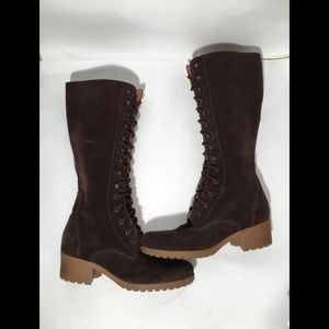 J. Crew Brown Suede Suede Lace - Up Boot Women.